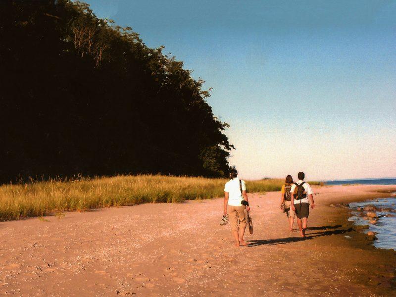 Personas caminando descalzos en verano